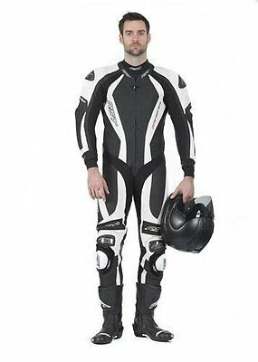 RST 1033 CPXC 1 One Piece Leather Race Motorcycle Motorbike Suit Black / White