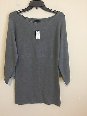0832)  NWT GAP sz M Maternity gray pullover tunic sweater cashmere blend cotton