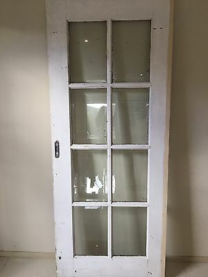 Solid Timber Sliding Colonial Style Door (Ribbed Textured Glass) 2050x825x40mm