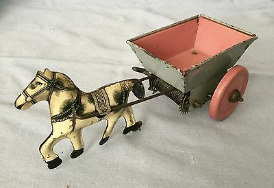 Vintage Wind Up Horse Pulling Cart Wagon Tin Toy  * Unique