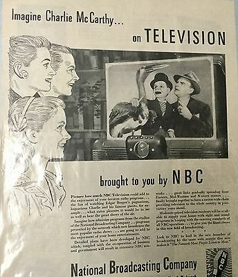 VINTAGE 1944 ADVERTISING PRINT BY N.B.C. with CHARLIE McCARTHY * RARE