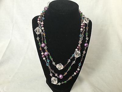 Lovely MULTI-COLORED VINTAGE NECKLACE * MANY PRETTY BEADS