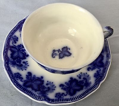 ANTIQUE FLOW BLUE CUP and SAUCER *  PRINCETON PATTERN * JOHNSON BROTHERS