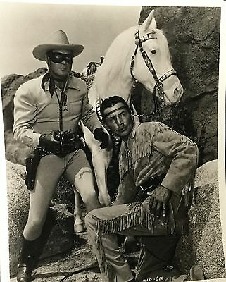"""THE LONE RANGER & TONTO   8"""" by 10"""" Glossy Black & White * CLAYTON MOORE"""