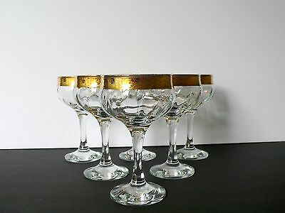 Vintage Set of 6 Crystal Gold Etched Stems Champagne Dessert Ice Cream Glasses