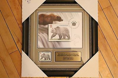 Rare Collection Frame from Canada Post Stamp Happy Retirement Grizzly Bear