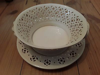 Leedsware cream pot pourri bowl and underplate