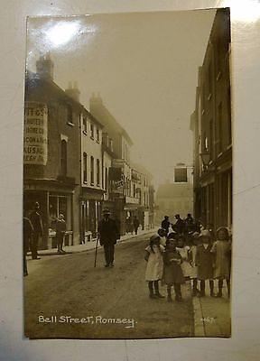Bell Str/Street Romsey London Real Photo Postcard Vtg Old Shops People Children