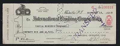 Philippines Fiscal revenue stamp cinderella 417- Scarce Revenue Stamp on Check