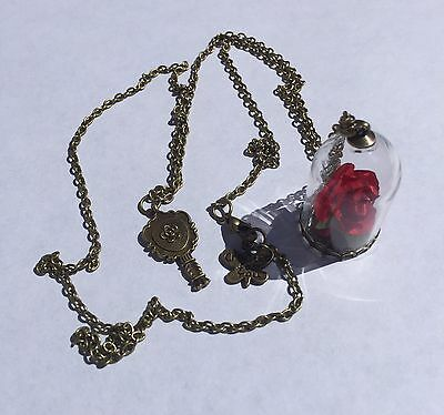 Beauty And The Beast Rose In Glass Necklace, UK Seller