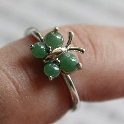 Size 6 1/2 ** CERTIFIED Natural Grade A Green Jadeite JADE 925 Silver Ring #R153