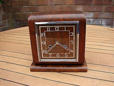 Art Deco Mantle Clock Camerer & Cuss London Walnut Veneer TLC Global Shipping