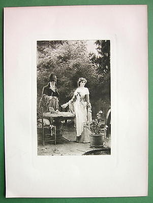 FRANCE Love Soldier or Royalist Daughter !! Antique Print Photogravure
