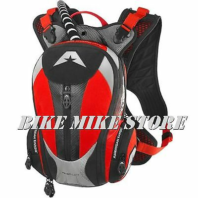 American Kargo Motorbike Backpack Rucksack red/red Drinking pouch Turbo 2.0