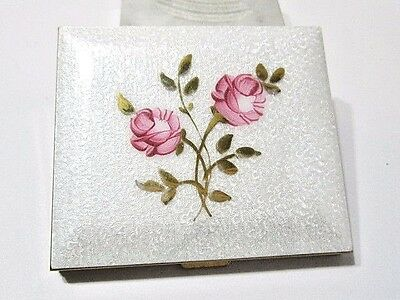 White With Pink Cabbage Rose Vintage Midcentury Guilloche Enamel Powder Compact