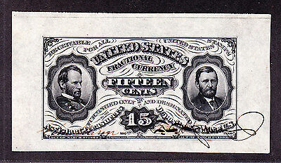 US 15c Fractional Currency Jefferies & Spinner Autographs spwmf FR1275sp Ch CU