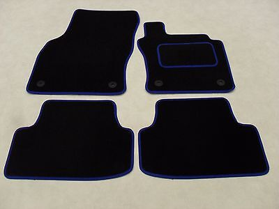 VW Golf Mk7 2013-on Fully Tailored Deluxe Car Mats in Black with Blue Trim.