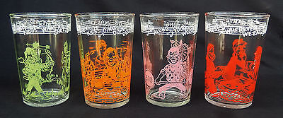 Lot of 4 Howdy Doody Welch's Jelly Jar Glasses/Tumblers Dated 1953  #1