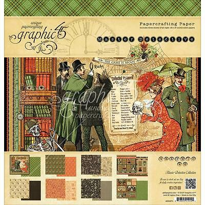 "Graphic 45 Master Detective 12""x12"" Paper Pad 24 sheets 4501571"