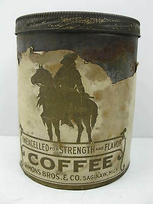 Vintage Symons Bros Coffee Tin with Paper Label Saginaw Michigan Stampinsisters