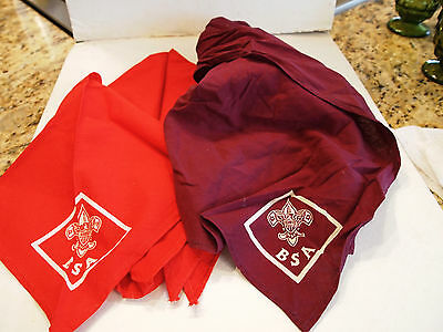VINTAGE PAIR (2) SCARF NECKERCHEIFS BOY SCOUTS OF AMERICA- BSA - Purple and Red