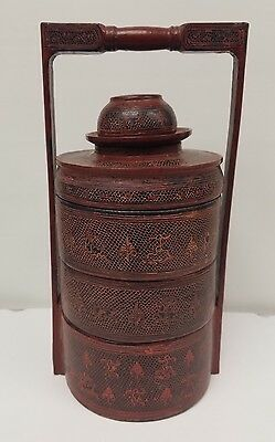 Antique Burmese Monk Lacquerware Lunch Box Carrier