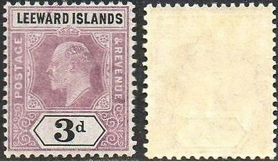 LEEWARD ISLANDS 1908	3d dull purple and black MH
