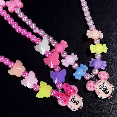 Children Gift Colorful Jewelry Girls Princess Beads Necklace Kids Baby Toddlers
