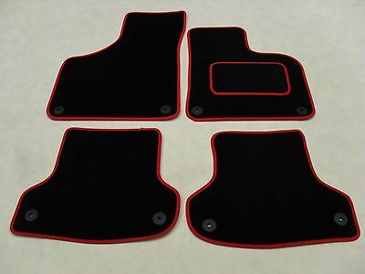 Audi A3 2003-2012 Fully Tailored Deluxe Car Mats in Black with Red Trim.