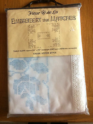 """BNIP Lace Edged Large Printed Tablecloth To Cross Stitch 55""""/140cm x 74""""/188cm"""