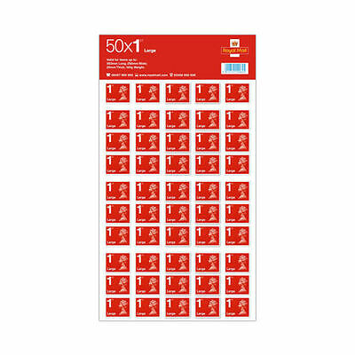 BRAND NEW 50 x Large Letter 1st Class Self Adhesive Stamp Sheet Unfranked - SALE