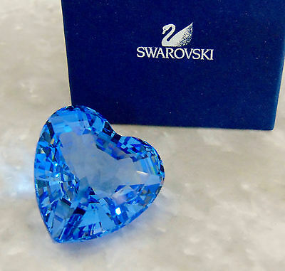 "BOXED 1997 Limited Edition SWAROVSKI Blue Renewal CRYSTAL HEART 1.5"" Paperweight"