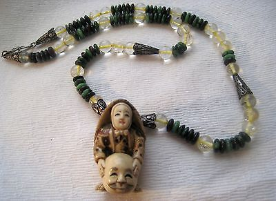Extraordinary Asian Carved Netsuke & Beads Sterling Clasp /Findings Necklace