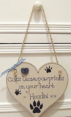 Handmade Personalised Cat Memorial Plaque Sign Leave Paw Prints On Heart Gift