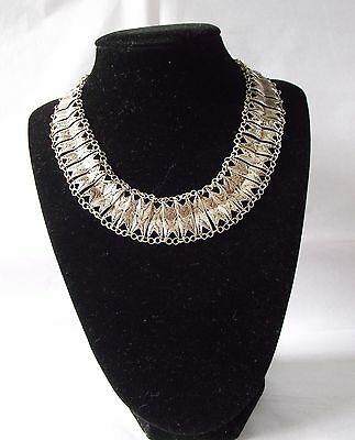 Indian Silver Tone Collar Necklace Statement Asian Ethnic White Metal Jewellery
