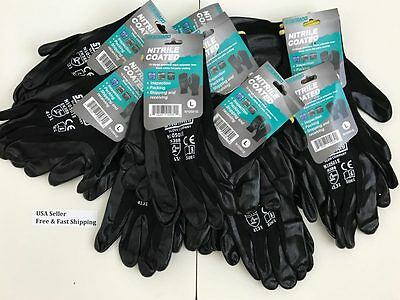 3-6-12 pairs Nitrile Coated Gloves For Construction Grip, Work, Garden. Large