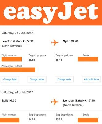 Can Be Changed To Anywhere/time EasyJet Return Flight Tickets Gatwick