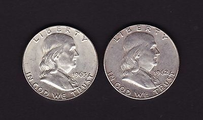United States 1962 D & 1963 D Half Dollar Silver Coins