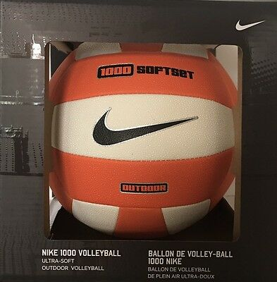 NIKE 1000 Softset Volleyball Ultra Soft Outdoor Ball New with Box Orange/White