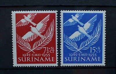 SURINAME 1955 Liberation & War Victims. Set of 2. Mint Never Hinged. SG428/429.