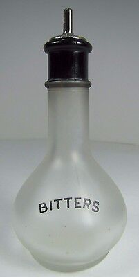 Orig Old BITTERS Frosted Glass Bottle w Black Detail Bar Pub Tavern Liquor Adv
