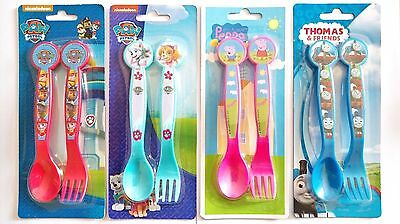 PAW PATROL / THOMAS THE TANK / PEPPA PIG Kids Plastic Cutlery Set Spoon and Fork