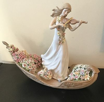 Lladro Style Like Girl w/ Violin Exquisite Flowers Boat. Stunning! w/ Box