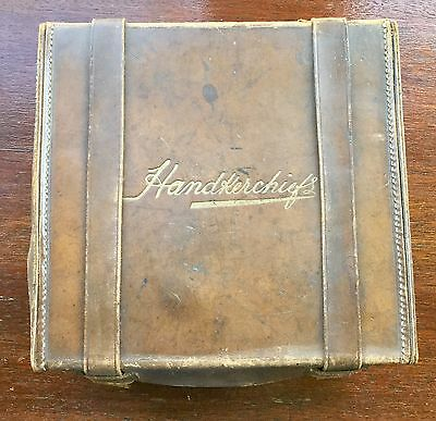 Vintage 1920s? Leather / Cardboard Handkerchief Box 'Needs Some TLC'