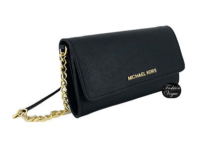 Authentic Michael Kors Continental Black Saffiano Leather Gold Chain Wallet