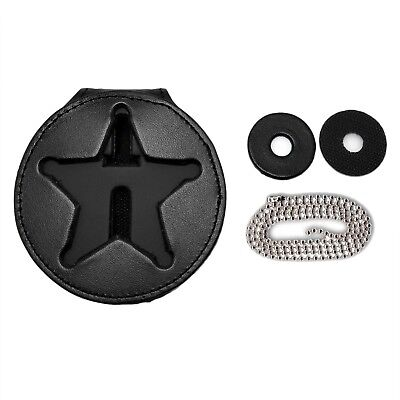 Ohio Sheriff 5 Point Star Police Clip On Around Neck Leather Badge Holder Chain