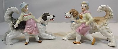 Antique Pair Of German China Opposing Figurines Featuring A Boy, Girl And Dogs