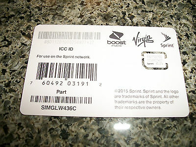 Sprint Nano Sim Card for iPhone 5S Sprint Boost Virgin SIMGLW436C