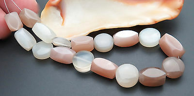 "17 BEAUTIFUL AAA+ MULTI COLOR MOONSTONE FANCY MULTI SHAPED BEADS 7.1"" 80.25cts"