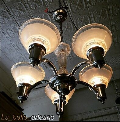 AMERICAN ART-DECO 5 LIGHT CHROME AND FROSTED GLASS CHANDELIER. l@@k!!